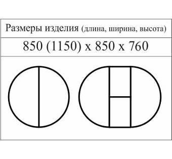 "Схема с размерами стола ""МЕДВЕДЬ"""