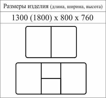 """Схема с размерами стола """"СОБОЛЬ"""""""