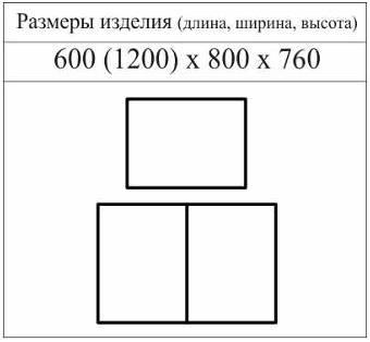 Схема с размерами стола